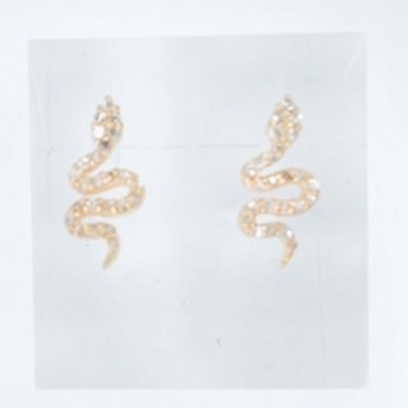 Benazir Collection Pave Diamond Snake Studs