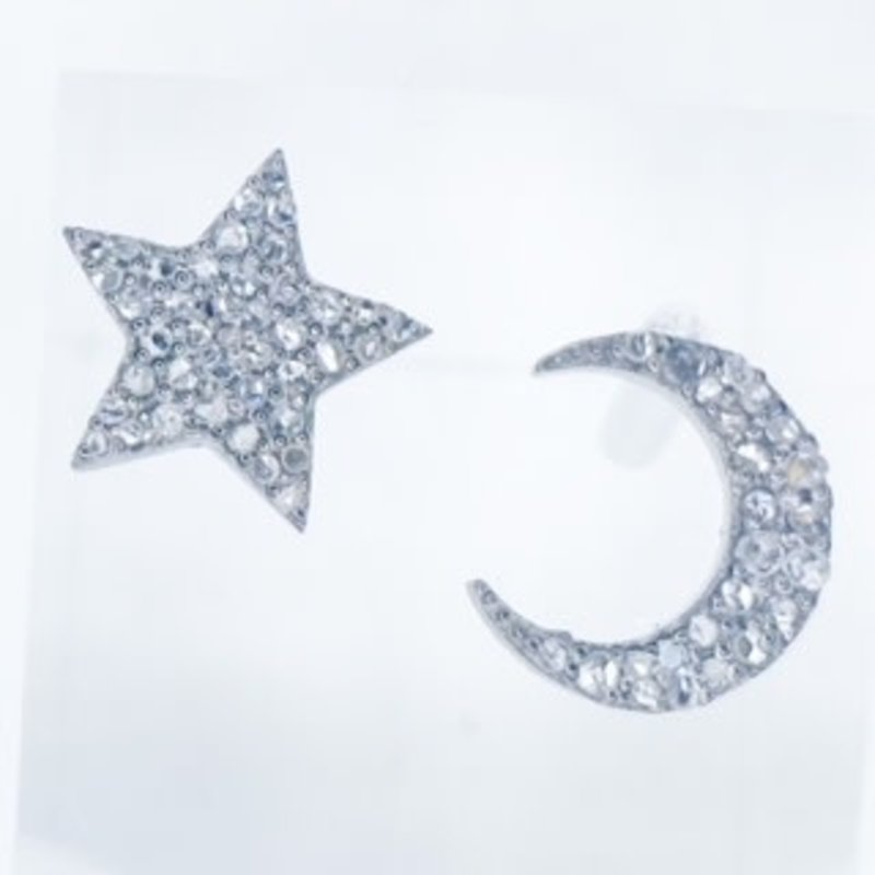 Benazir Collection Pave Diamond Moon and Star Studs