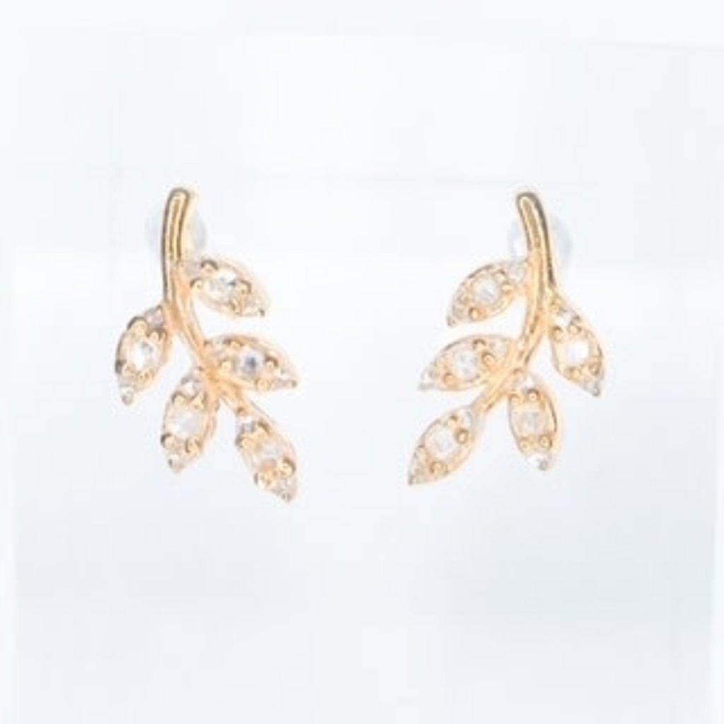 Benazir Collection Pave Leaf Diamond Studs