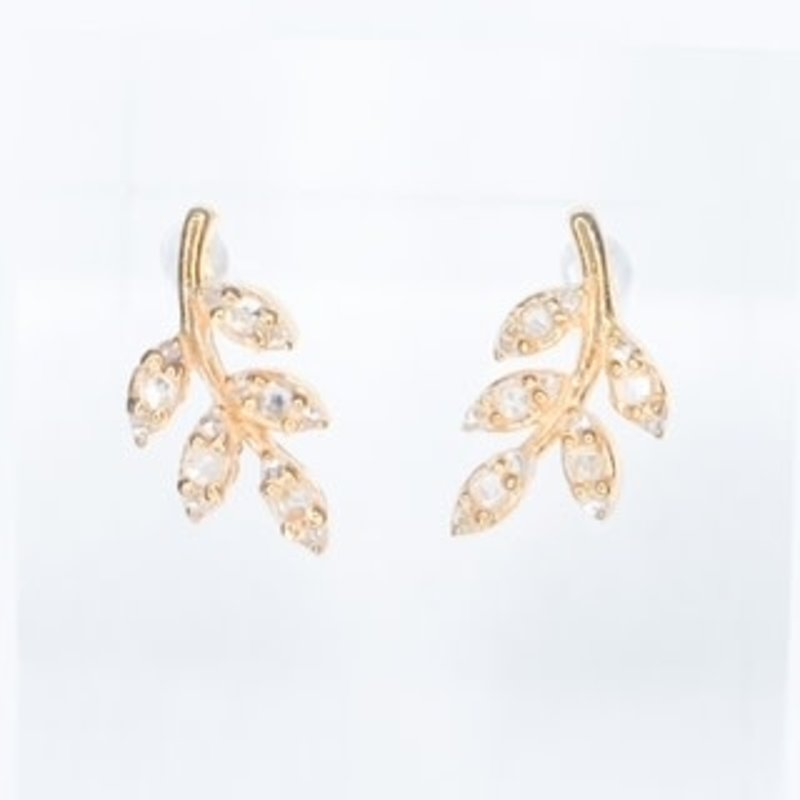 Benazir Collection Pave Leaf Diamond Studs
