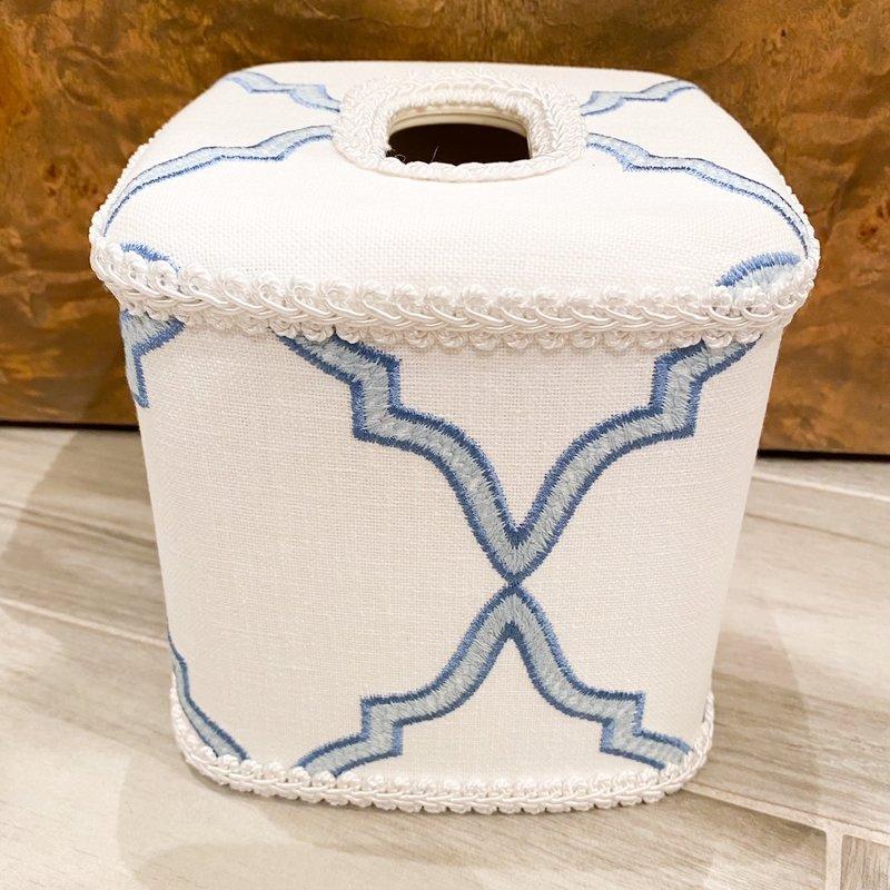 Jan Sevadjian Windsor White Blue Tissue Cover