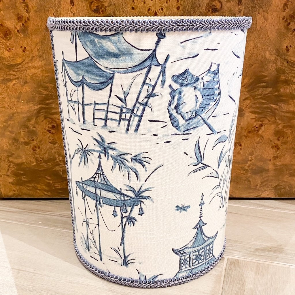 Jan Sevadjian Pagoda Blue Wastebasket