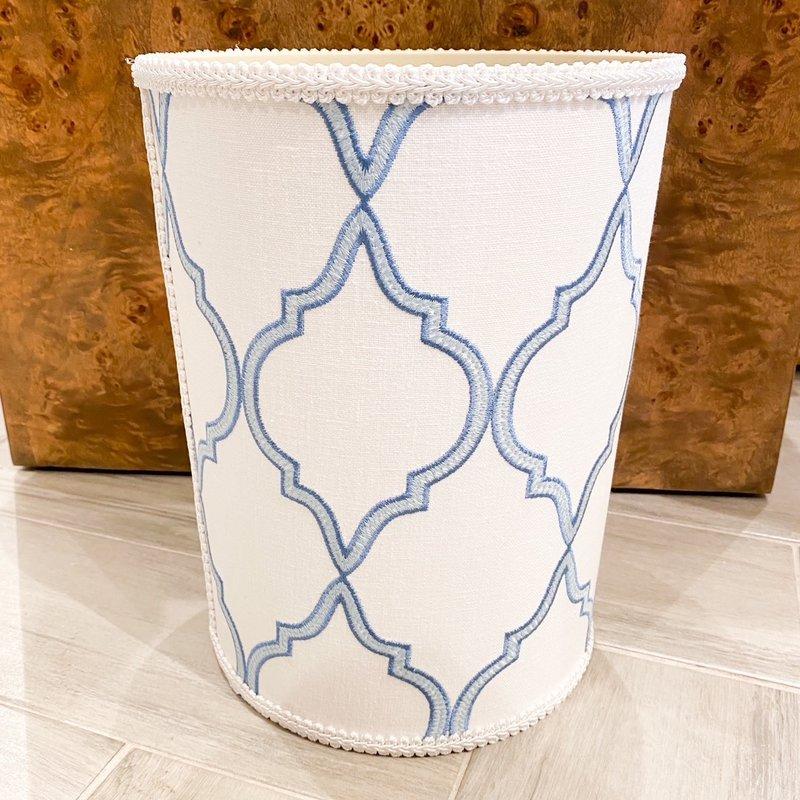 Jan Sevadjian Windsor White Blue Wastebasket
