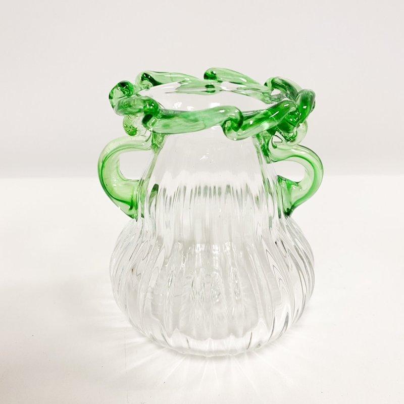 Ridge Walker Glass Short Green Glass Vase