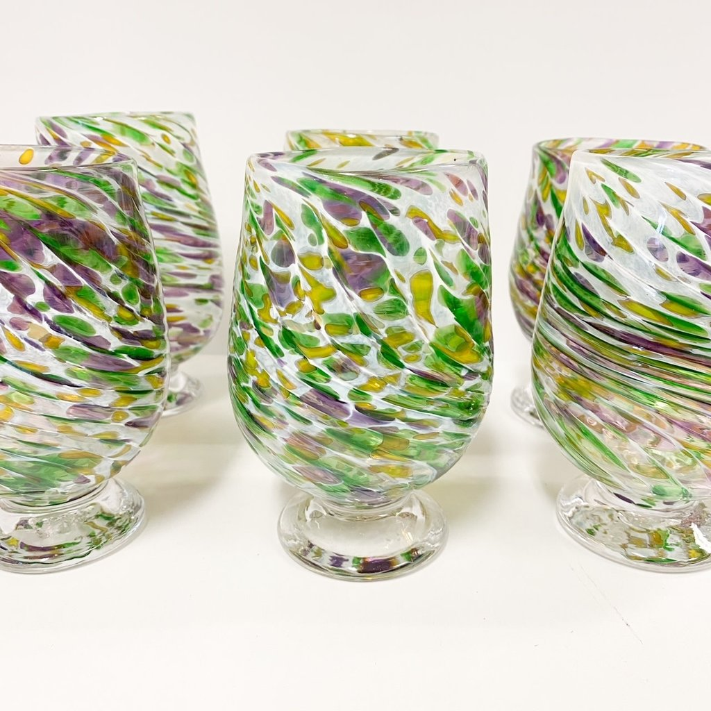 Ridge Walker Glass Footed Mardi Gras Glass