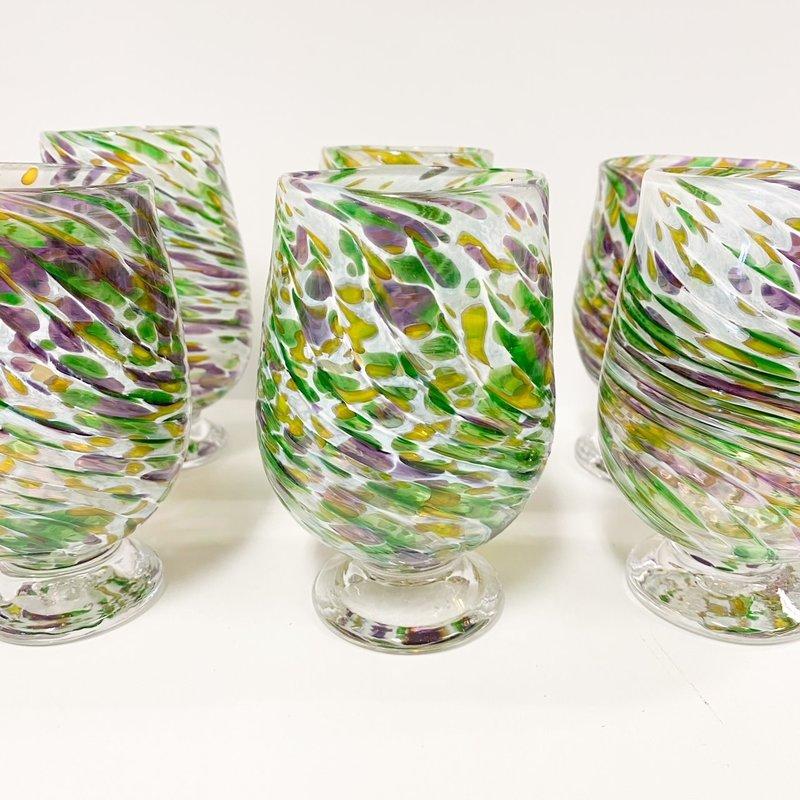 Ridge Walker Glass Footed Mardi Gras Glass