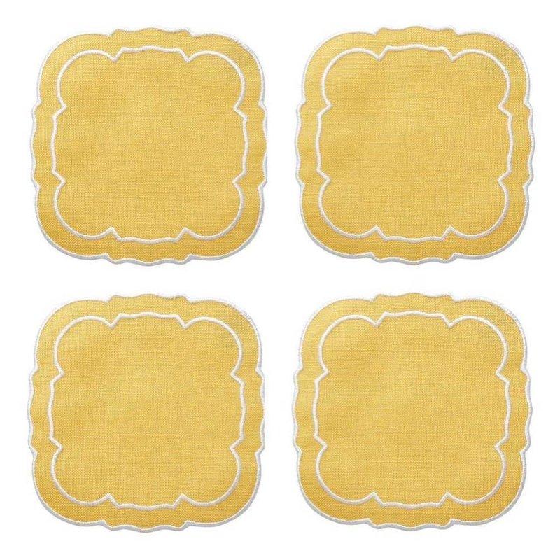 Skyros Designs Linho Scalloped Square Coaster Yellow Set of 4