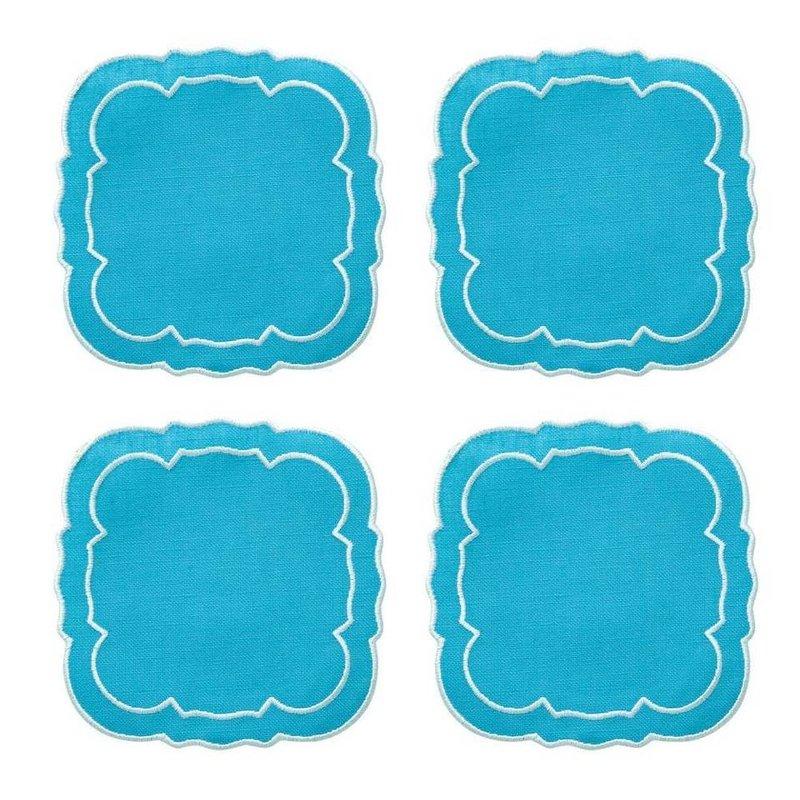 Skyros Designs Linho Scalloped Square Coaster Turquoise Set of 4
