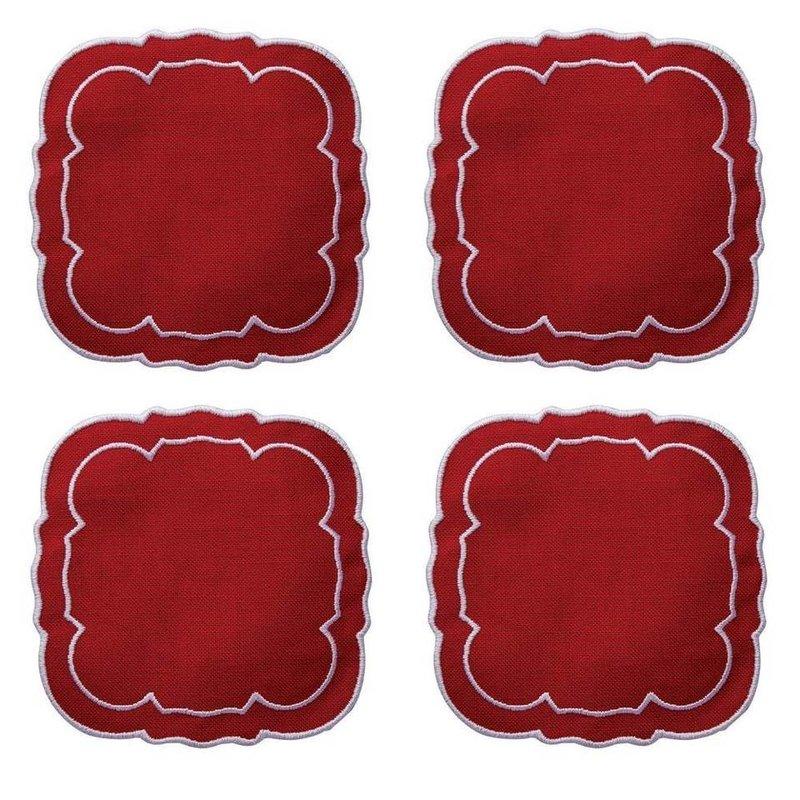 Skyros Designs Linho Scalloped Square Coaster Red Set of 4