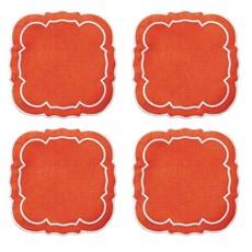 Skyros Designs Linho Scalloped Square Coaster Orange Set of 4