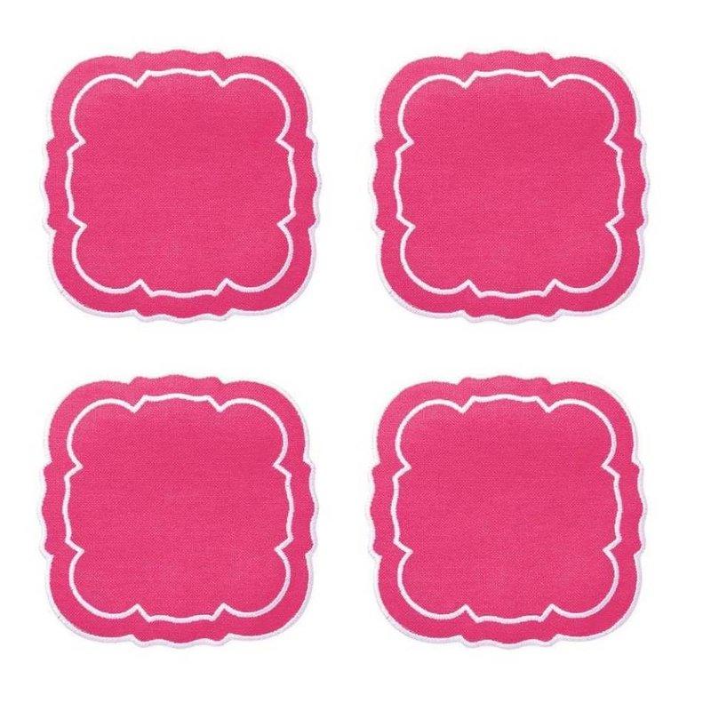 Skyros Designs Linho Scalloped Square Coaster Fuschia Set of 4