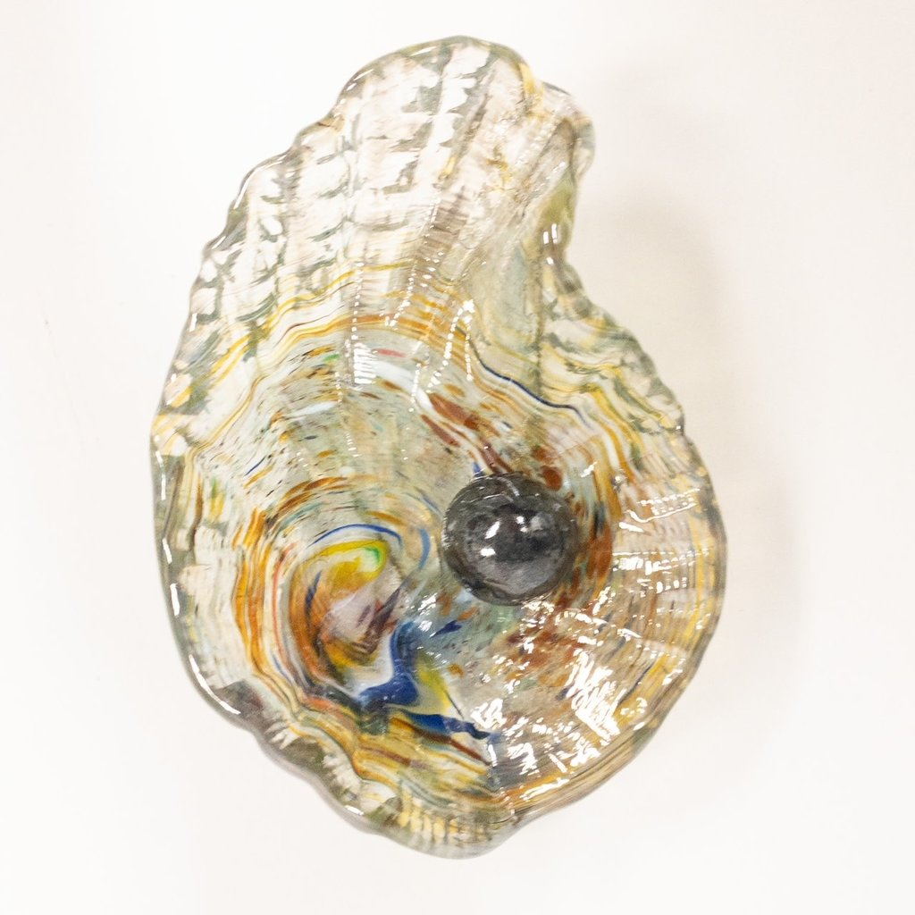 Ridge Walker Glass Oyster Sculpture with black pearl