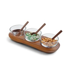 Nambe Cooper Triple Condiment Server w/ Spoons