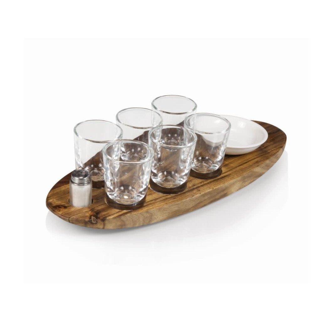 Picnic Time CANTINERO SHOT GLASS SERVING SET, (ACACIA WOOD)