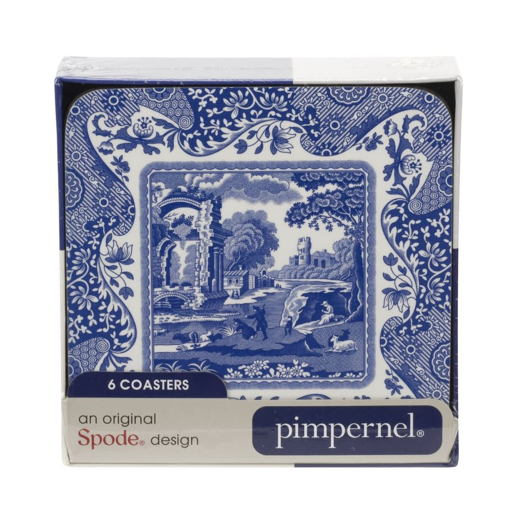 Portmeirion Pimpernel Blue Italian Coasters Set of 6