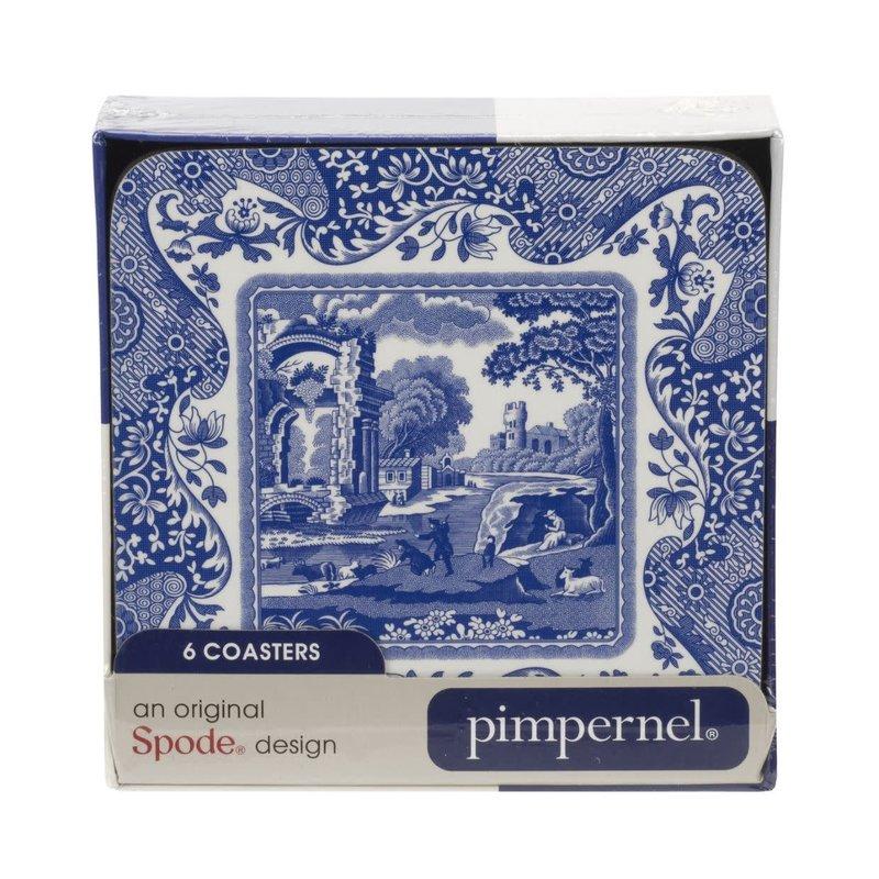 Portmeirion Pimpernel Blue Italian Coasters Set of 6