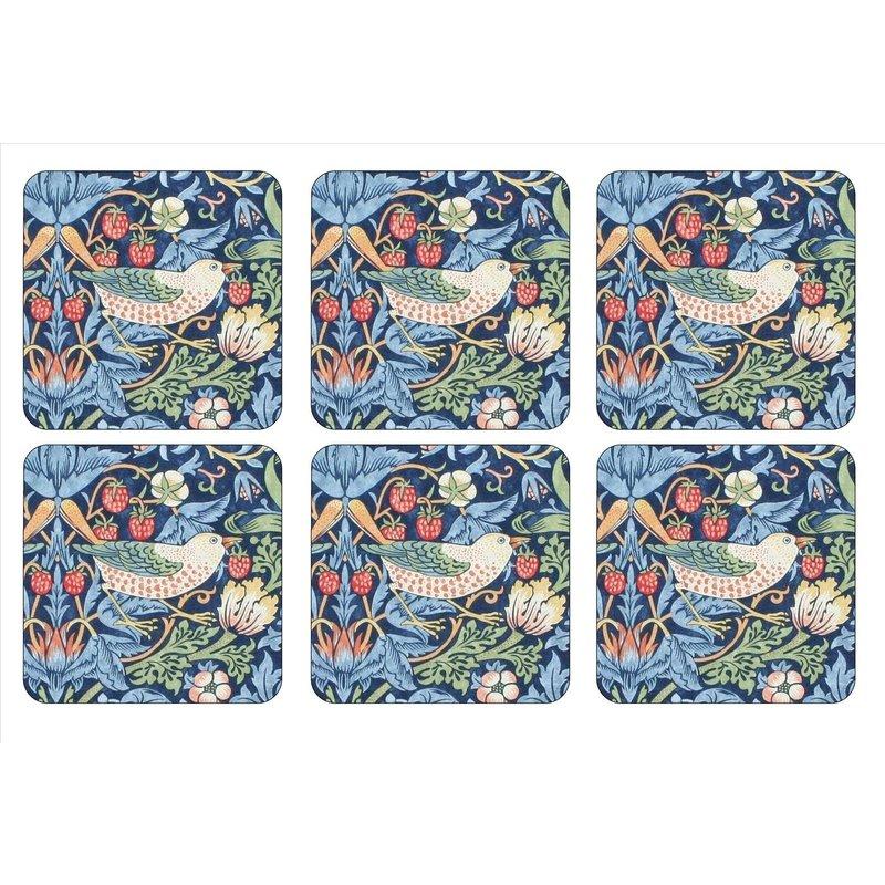 Pimpernel Strawberry Thief Blue Coasters Set of 6