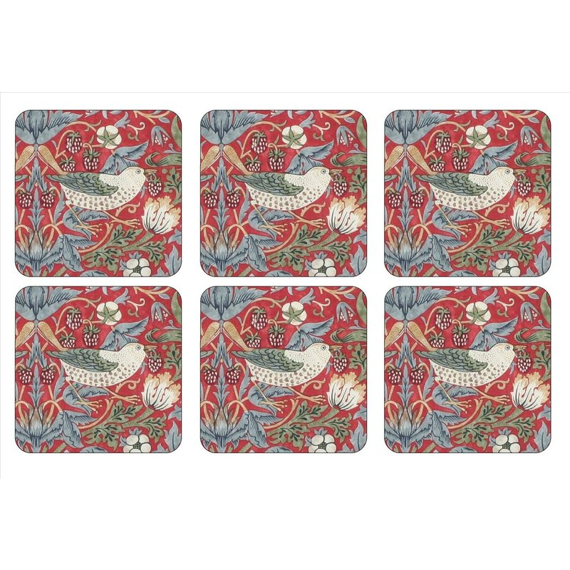 Pimpernel Strawberry Thief Red Coasters Set of 6