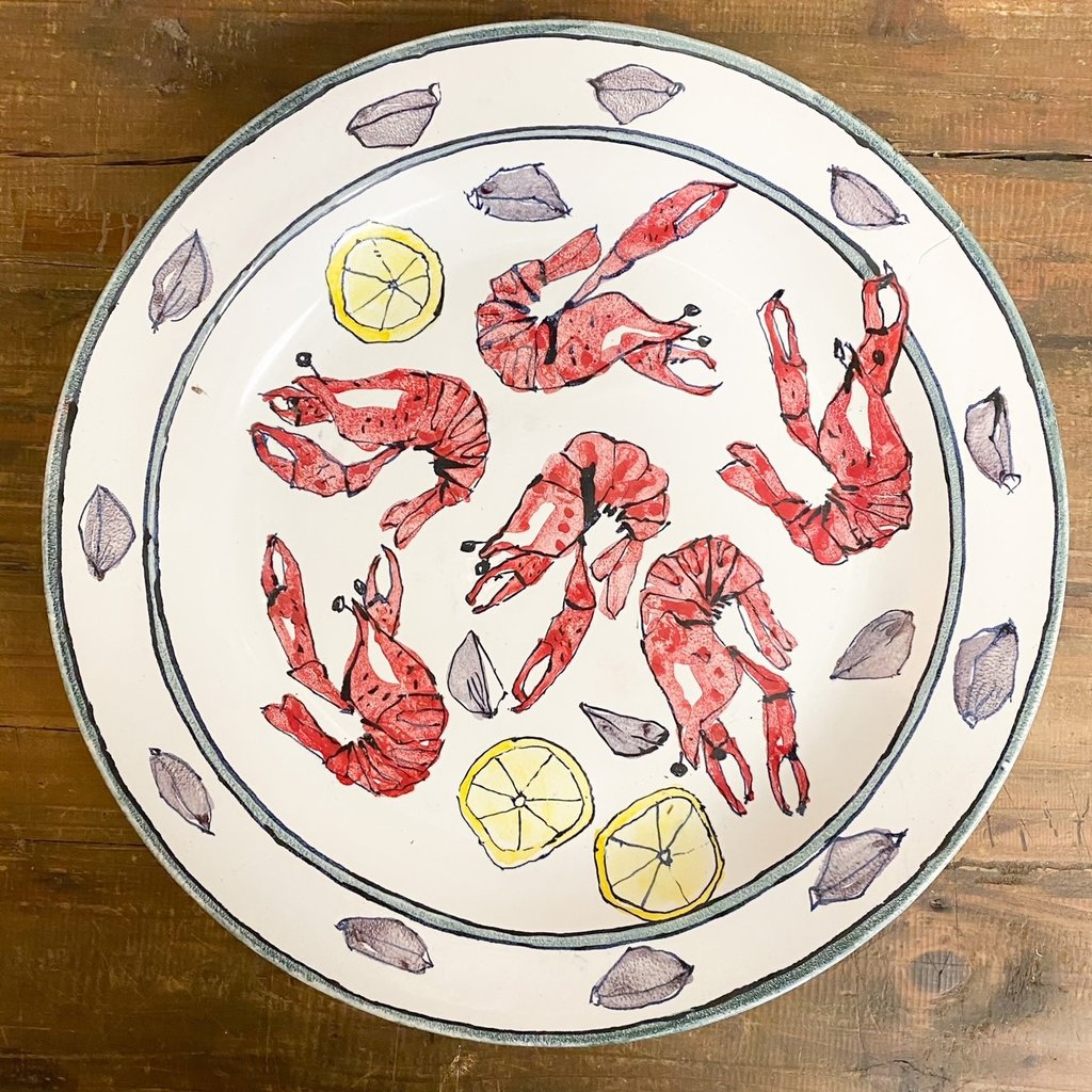 Steve Hasslock Large Shallow Bowl with Crawfish