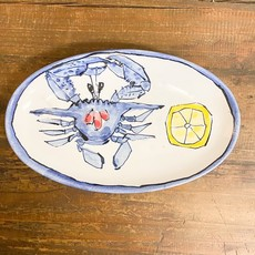 Steve Hasslock Small Oval Plate Crab with Lemon