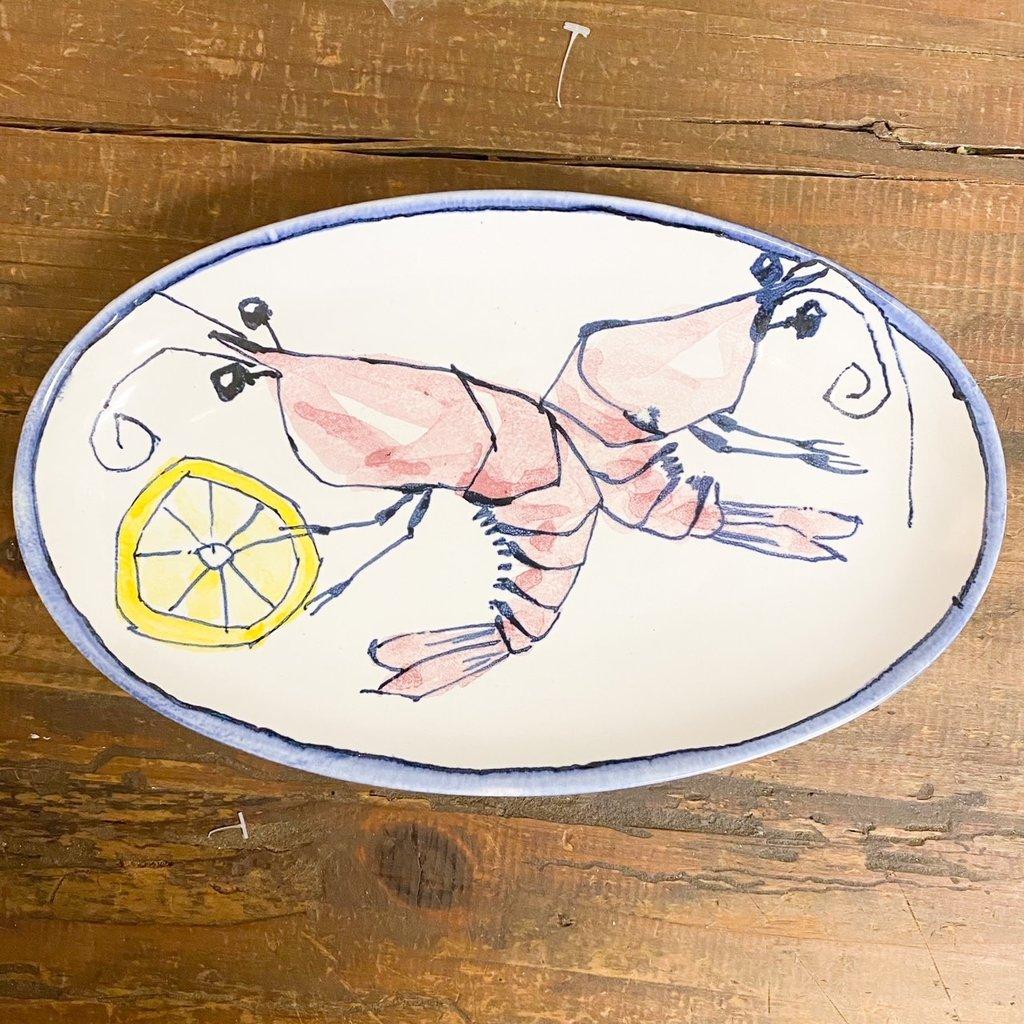 Steve Hasslock Small Oval Plate Shrimp