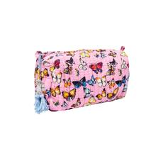 Laura Park Butterflies Pink Quilted Cosmetic Bag Small