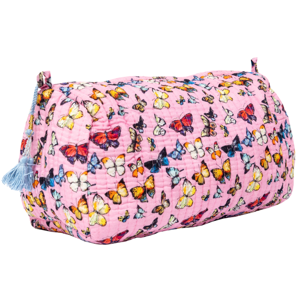 Laura Park Butterflies Pink Quilted Cosmetic Bag Large