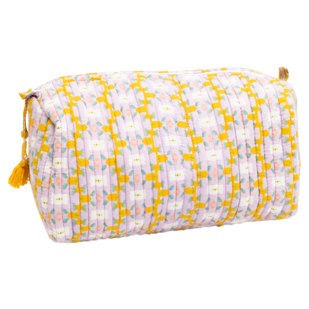 Laura Park Chloe Lavender Quilted Cosmetic Bag Large