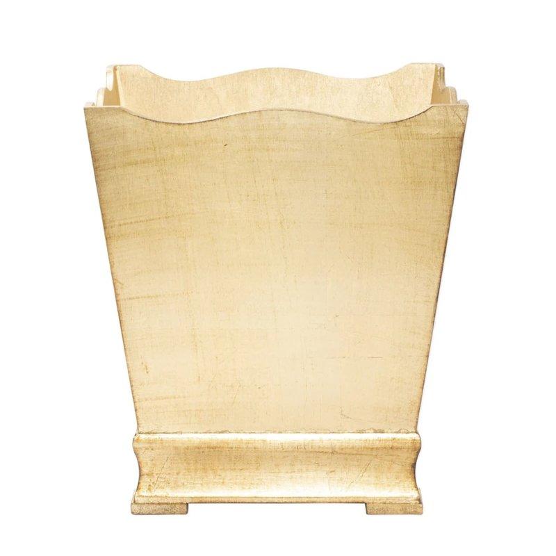 Vietri Florentine Wooden Gold Waste Basket