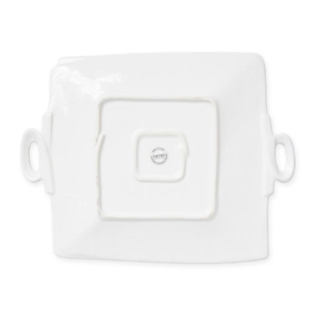 Vietri Lastra Linen Handled Square Platter