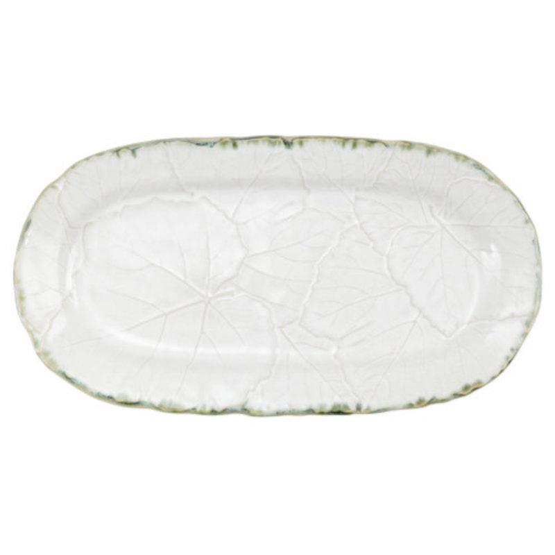 Vietri Foglia Stone White Small Oval Platter