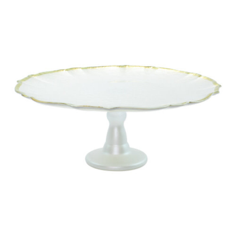 Vietri Baroque Glass White Cake Stand