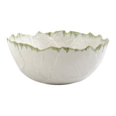 Vietri Foglia Stone White Medium Deep Serving Bowl