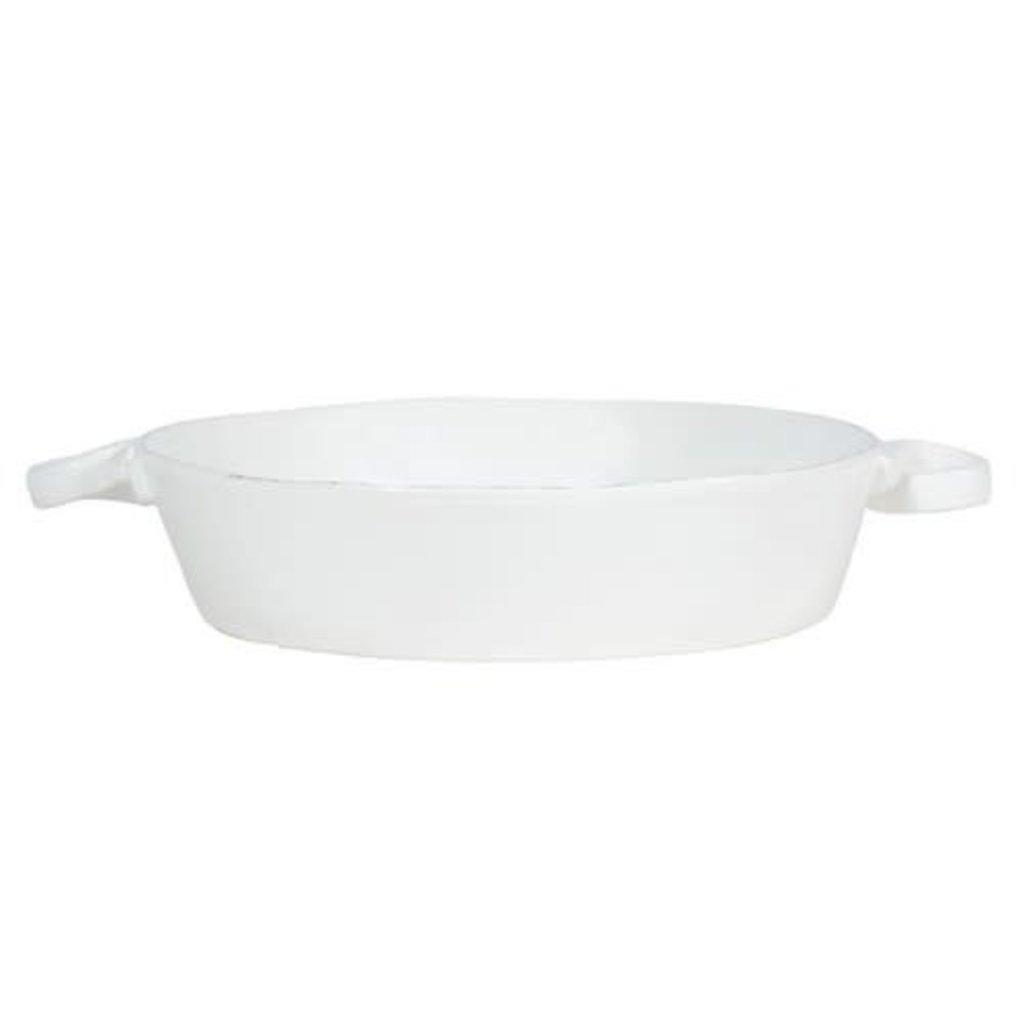 Vietri Lastra White Handled Round Baker