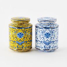 One Hundred 80 Degrees Large Tea Canister Handmade/Handpainted 6.5''