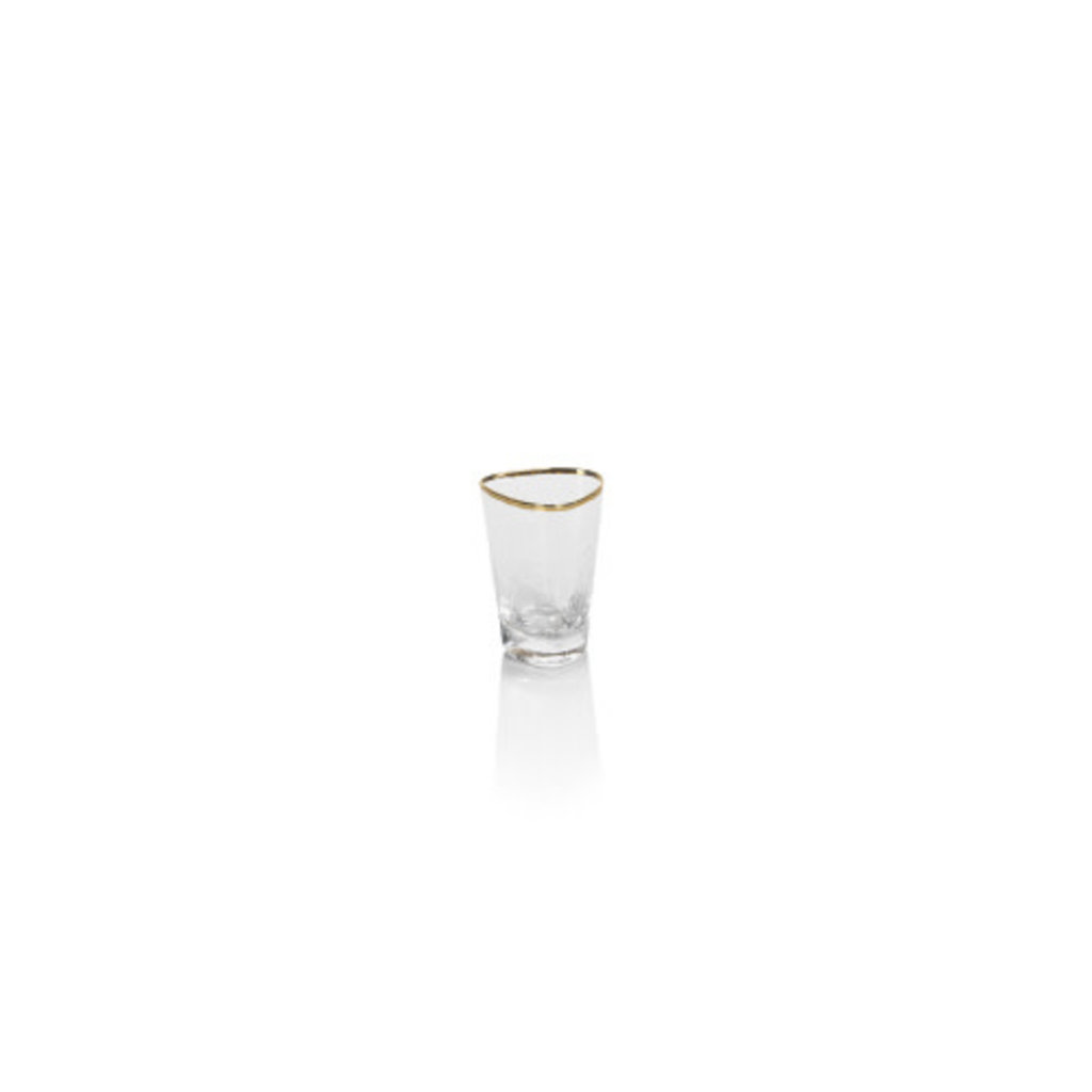 Zodax Aperitivo Triangular Shot Glass, Clear w/Gold Rim