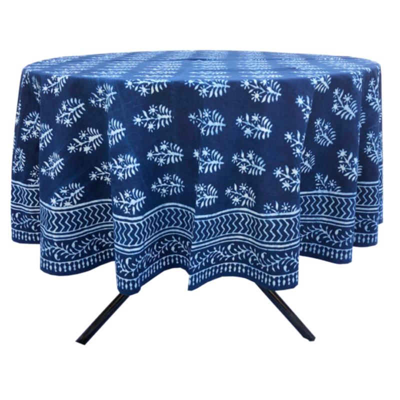 Pacific & Rose Textiles Lawrence Indigo Tablecloth 70'' Round