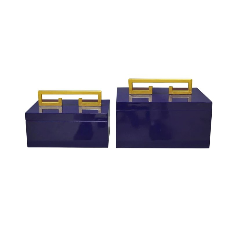 """Couture Lamps Avondale Navy Small Box 12""""x8""""x7.5"""""""