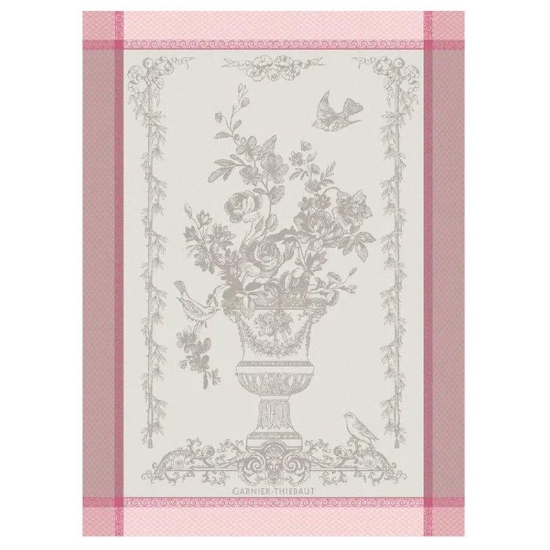 """Garnier Thiebaut Bird Garden Pink Kitchen Towel 22""""x30"""", 100% Cotton"""