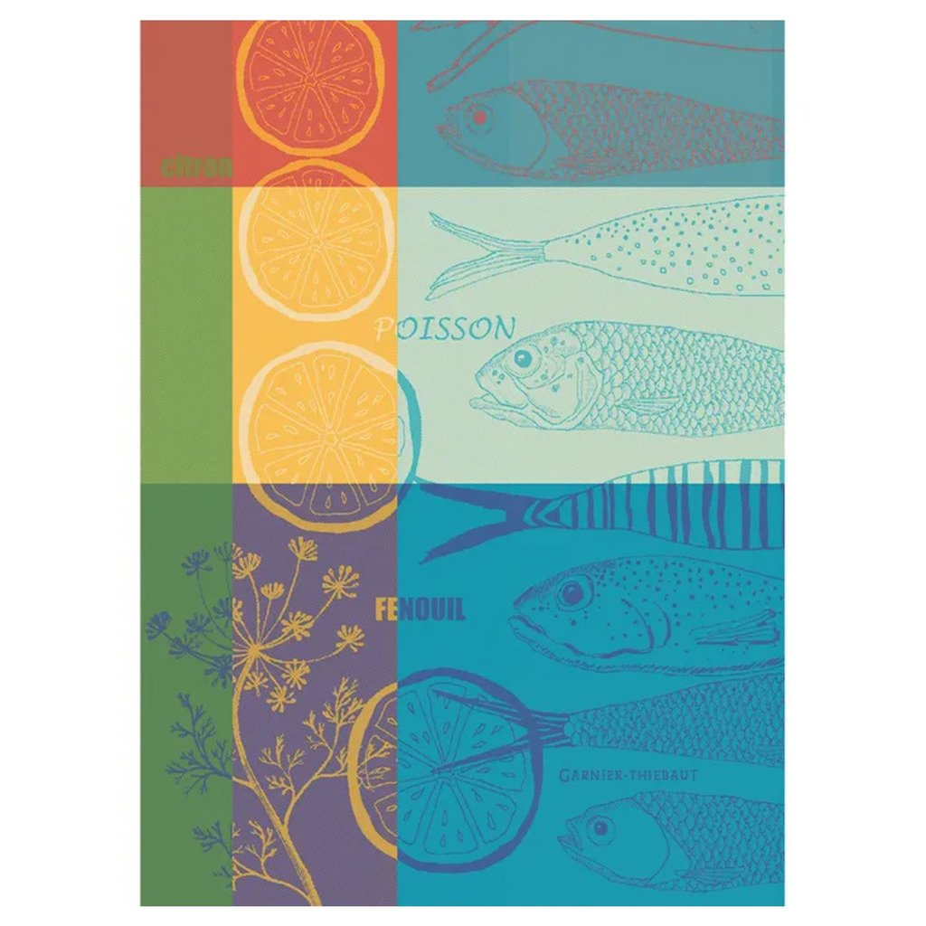 "Garnier Thiebaut Poisson Au Citron Ete Kitchen Towel 22""x30"", 100% Cotton"