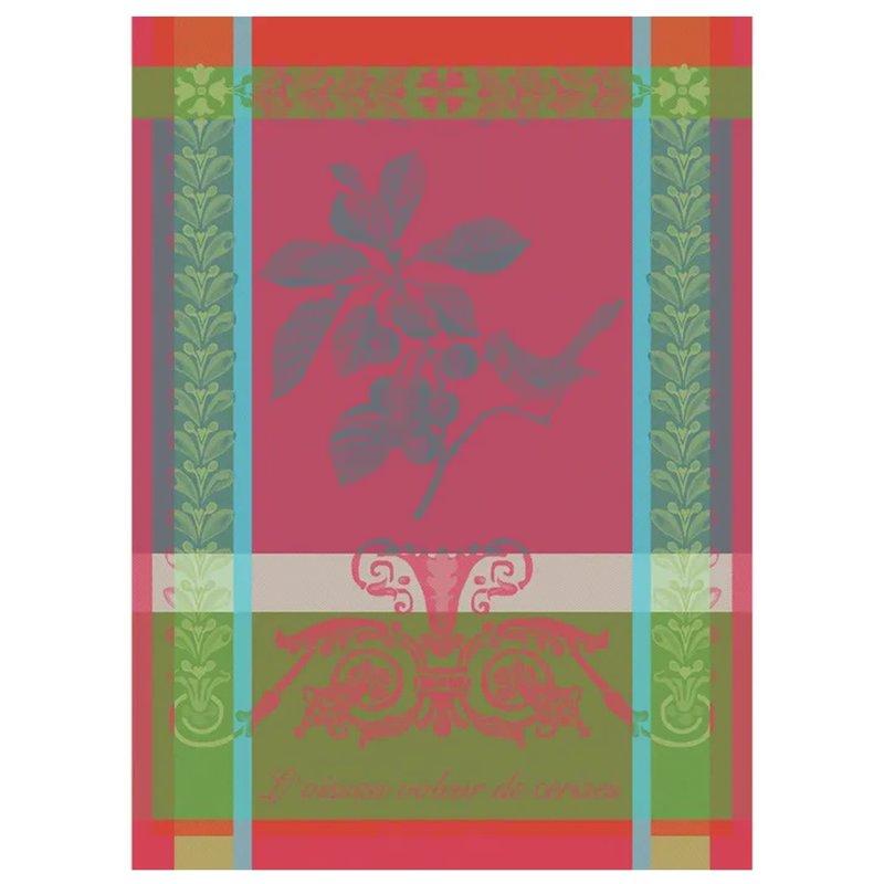 """Garnier Thiebaut Voleur De Cerises Rose Kitchen Towel 22""""x30"""", 100% Cotton"""