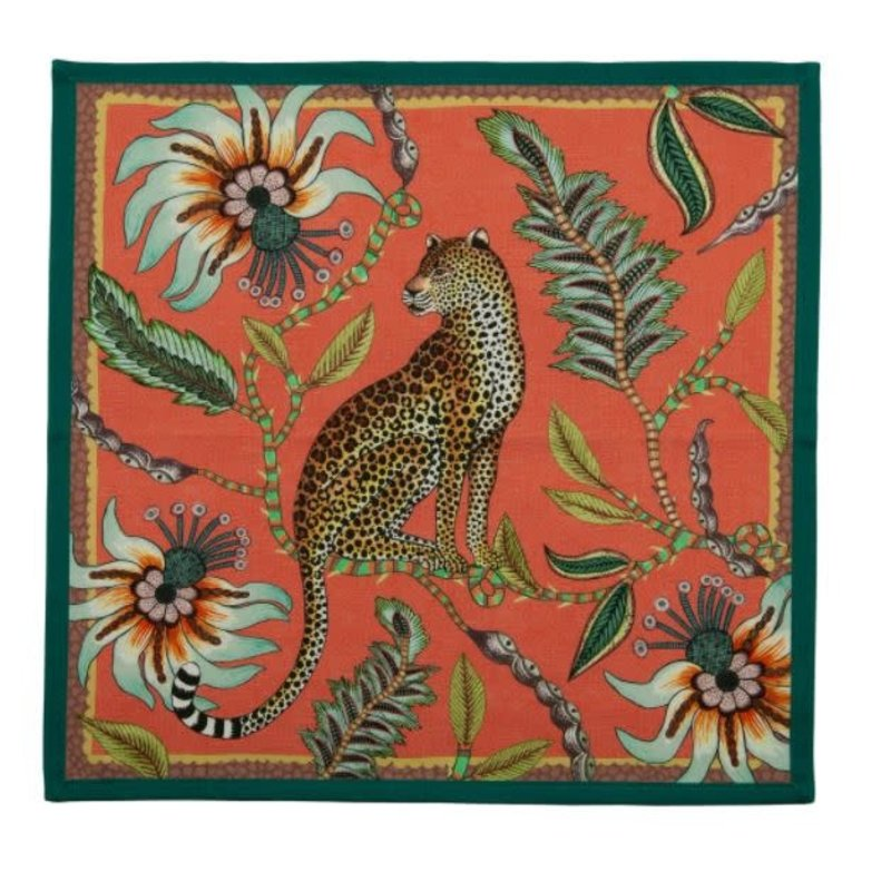 Ngala Trading Leopard Napkins (Pair) Coral