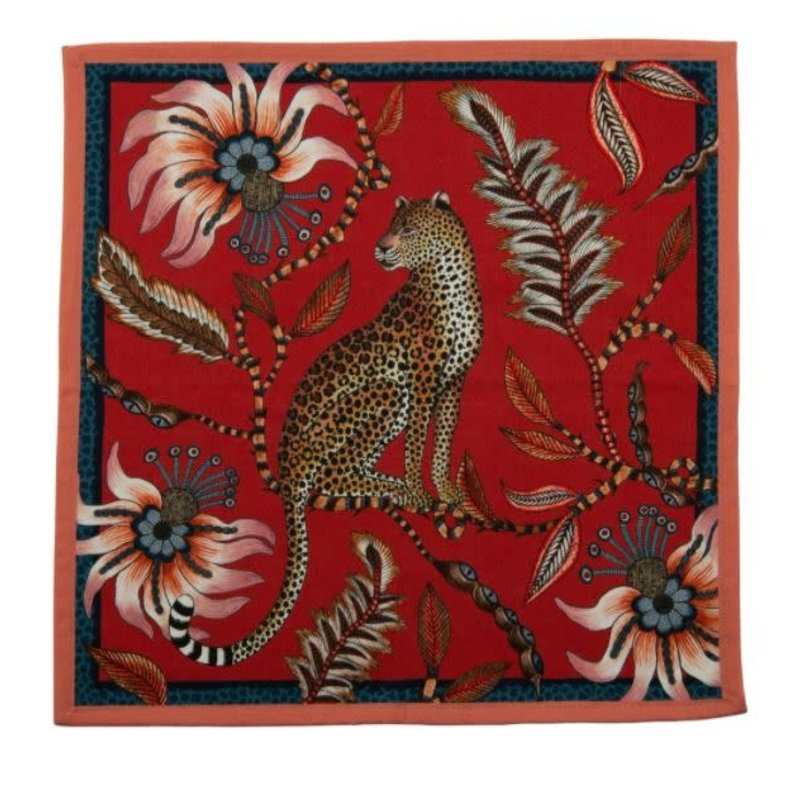 Ngala Trading Leopard Napkins (Pair) Royal red