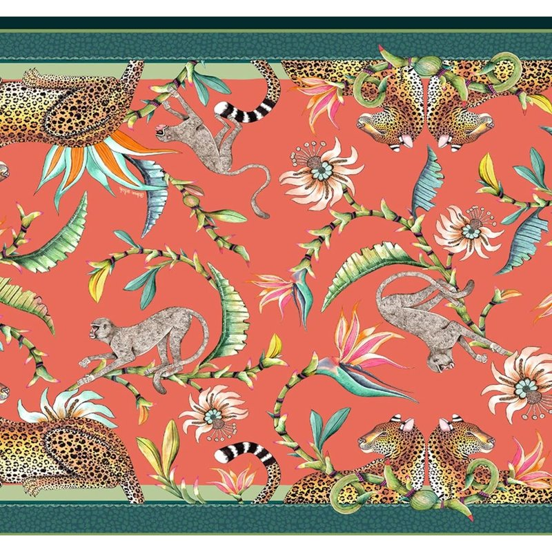 Ngala Trading Monkey Paradise Tablecloth- Coral 94'' x 63''