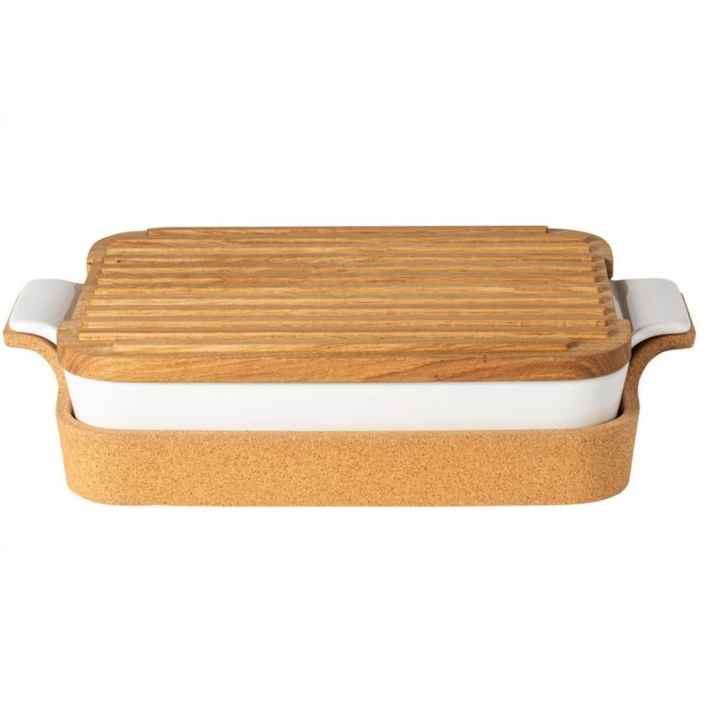 Casafina OAK WOOD CUTTING BOARD/LID FOR RECT. TRAY 16'' ENSEMBLE