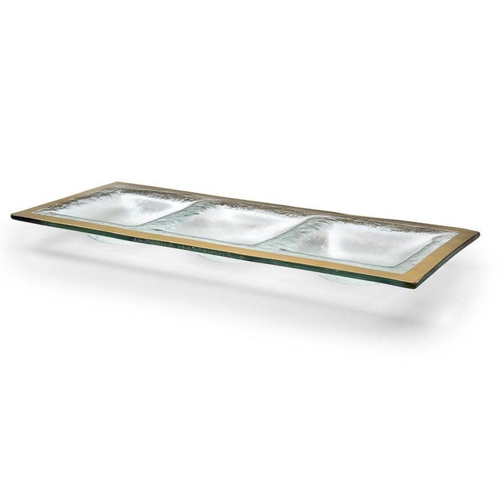 Annie Glass 14 x 5 1/2'' Three Section Tray