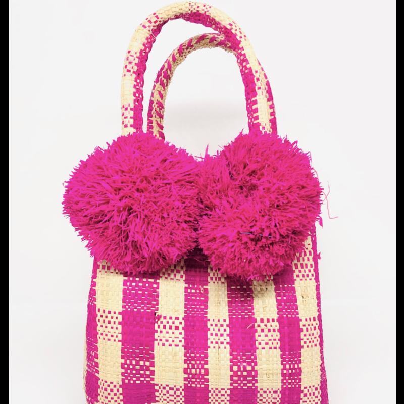 Shebobo Schooner Straw Mini Bag Fuchsia Gingham