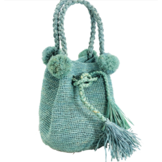 Shebobo Hobo Straw Crochet Handbag- Cornflower