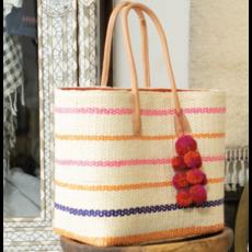 Shebobo Capitola Strawbag basket- Pin Stripes Pink