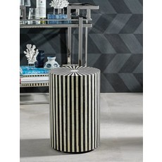 Zodax Bone Inlay Striped Round Stool